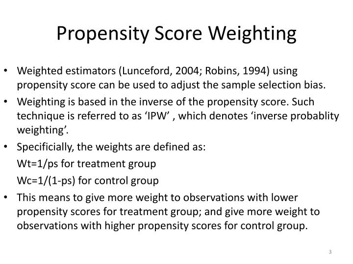 Propensity score weighting