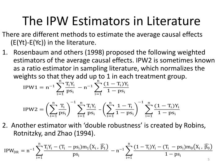The IPW Estimators in Literature