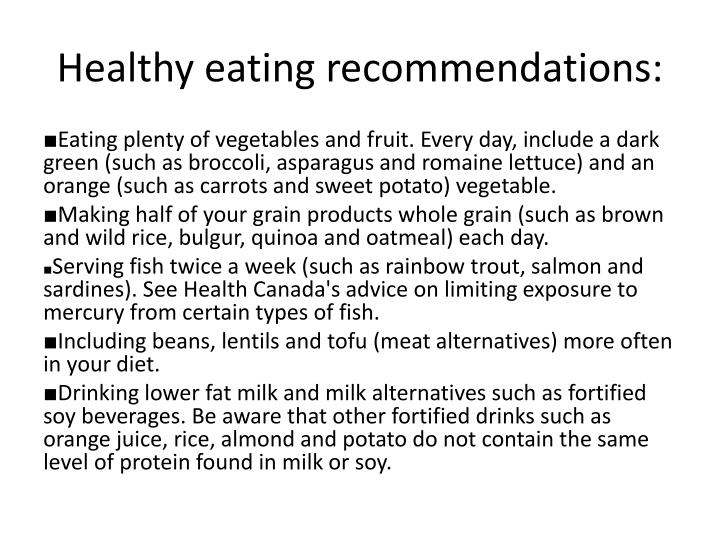 Healthy eating recommendations: