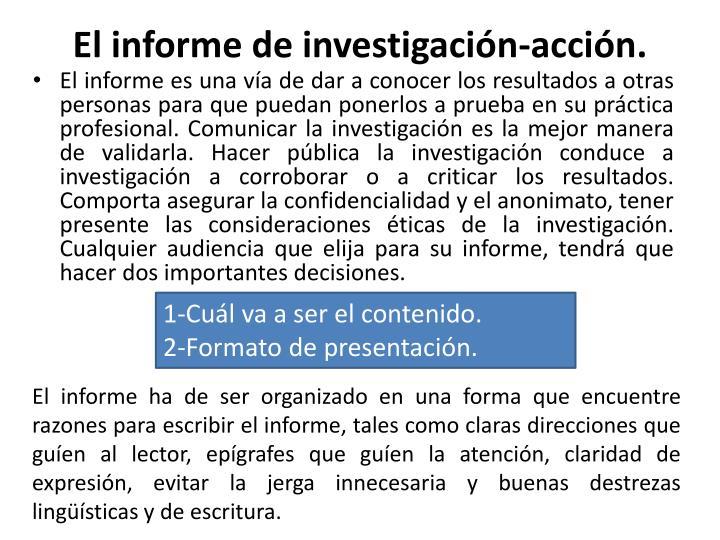 El informe de investigación-acción
