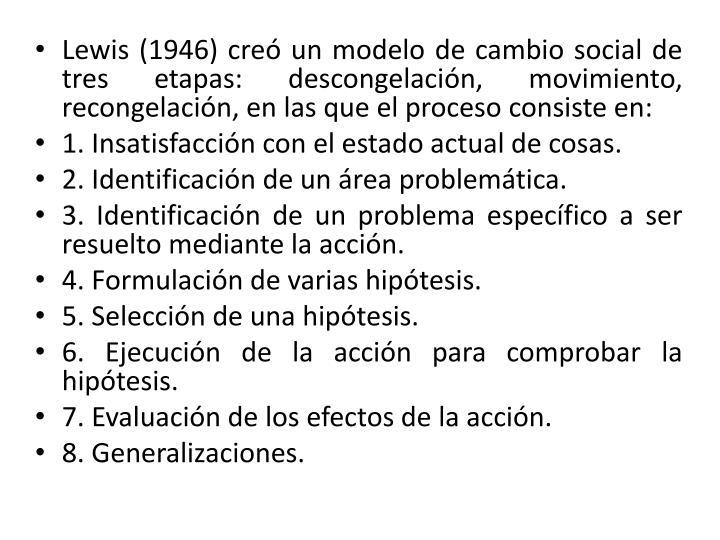 Lewis (1946) creó un modelo de cambio social de tres etapas: