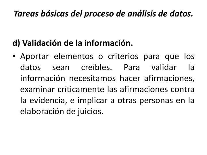 Tareas básicas del proceso de análisis de datos.