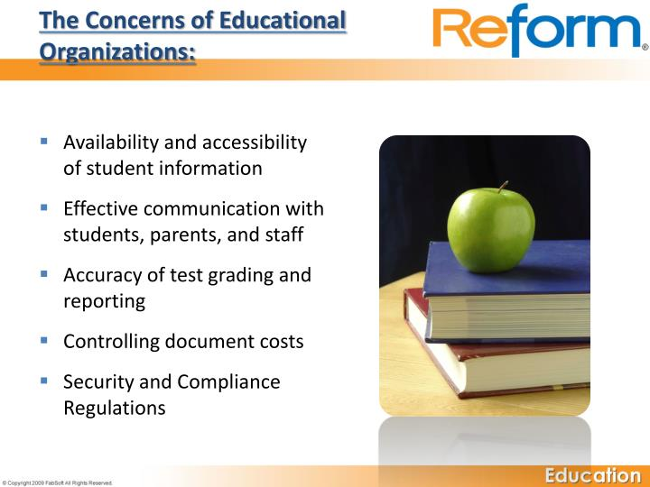 The concerns of educational organizations