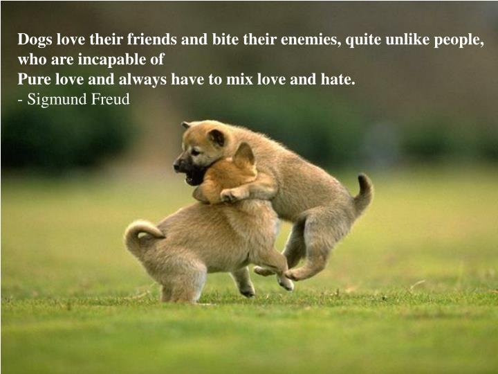 Dogs love their friends and bite their enemies, quite unlike people, who are incapable of