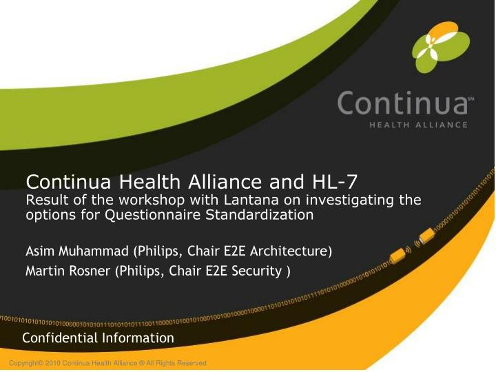 Continua Health Alliance and HL-7