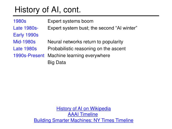 History of AI, cont.