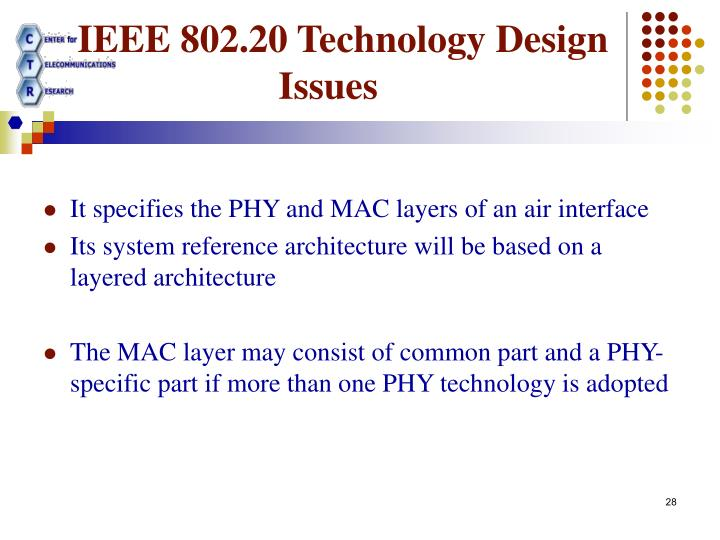 IEEE 802.20 Technology Design Issues