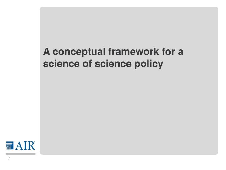 A conceptual framework for a science of science policy