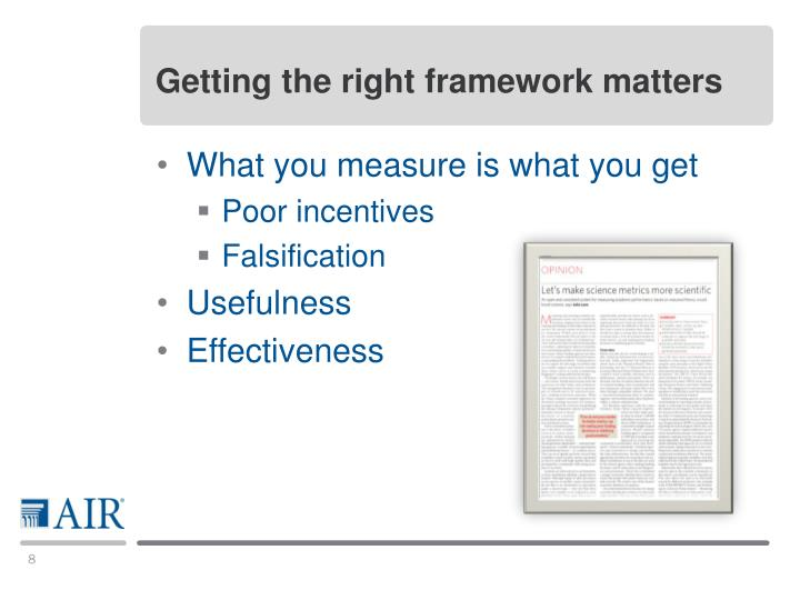 Getting the right framework matters