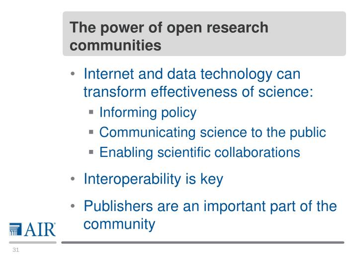 The power of open research communities