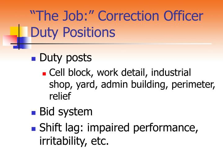 """The Job:"" Correction Officer Duty Positions"