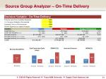 source group analyzer on time delivery