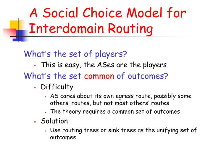 A Social Choice Model for Interdomain Routing