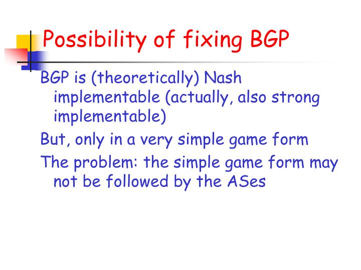 Possibility of fixing BGP