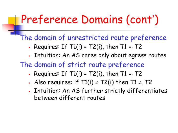 Preference Domains (cont