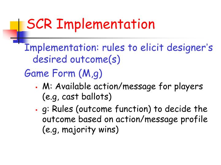 SCR Implementation