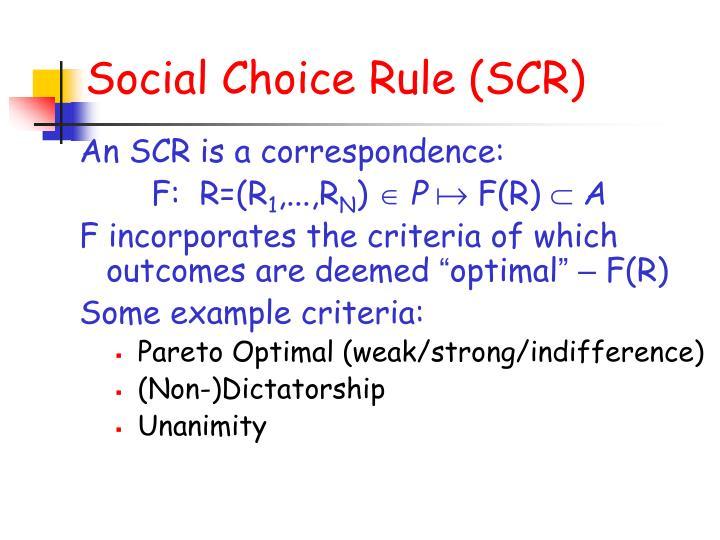 Social Choice Rule (SCR)