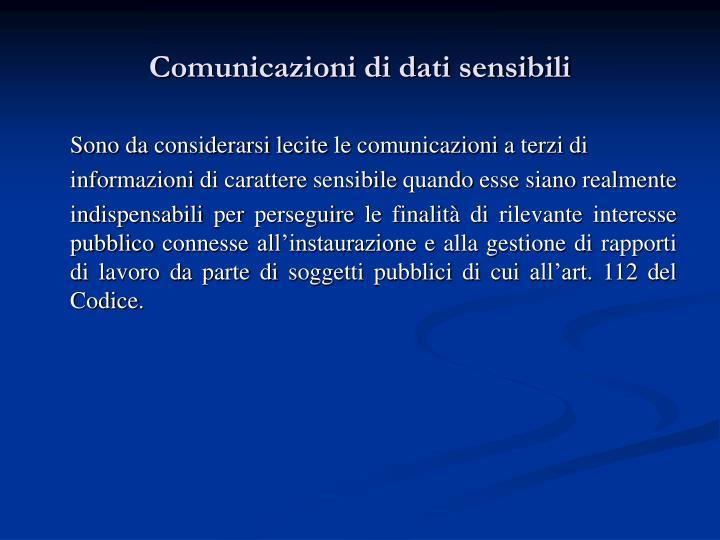 Comunicazioni di dati sensibili