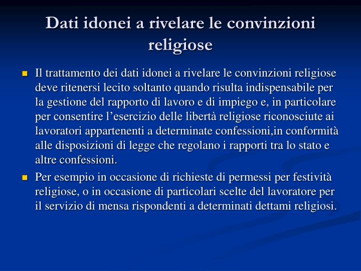 Dati idonei a rivelare le convinzioni religiose