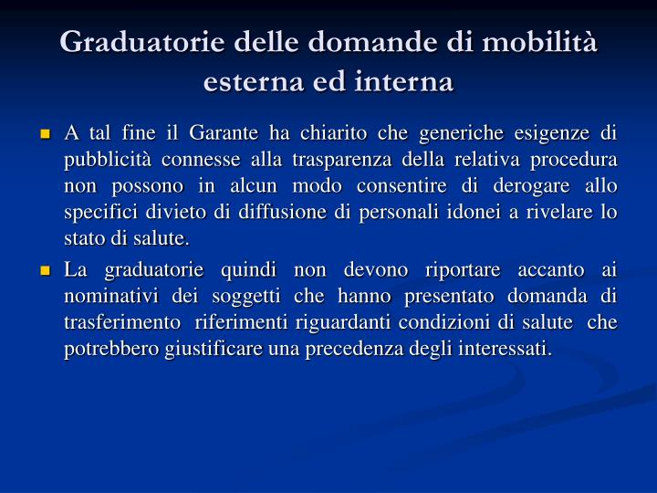 Graduatorie delle domande di mobilità esterna ed interna