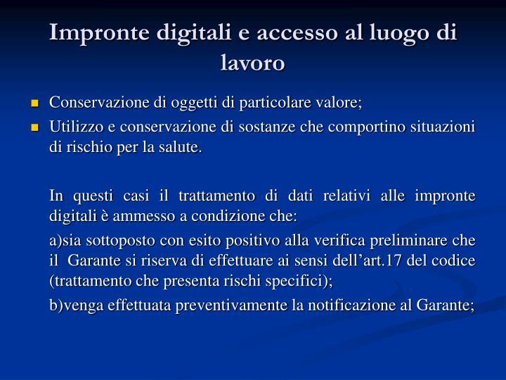 Impronte digitali e accesso al luogo di lavoro