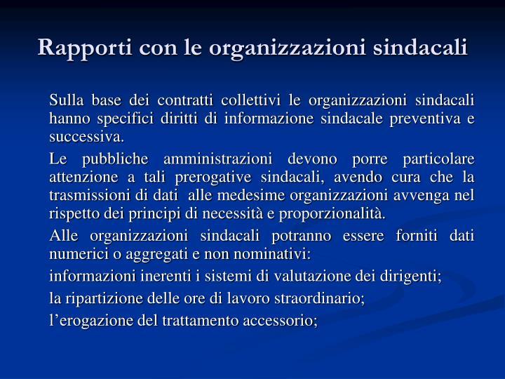 Rapporti con le organizzazioni sindacali
