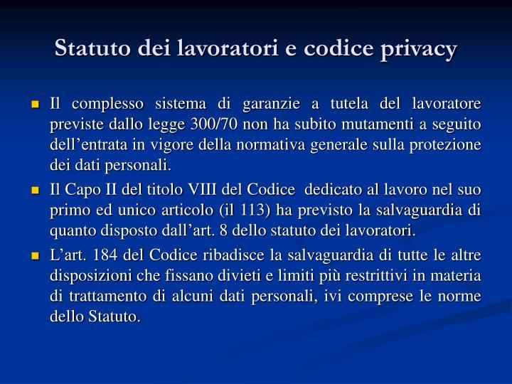 Statuto dei lavoratori e codice privacy