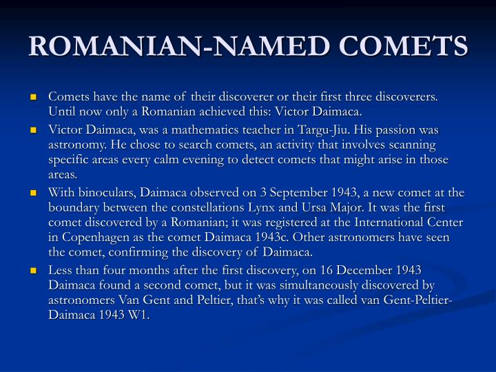 ROMANIAN-NAMED COMETS