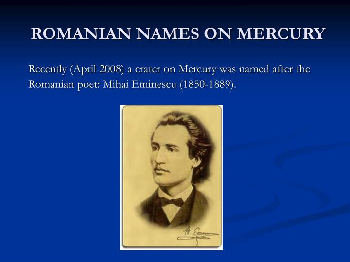 Romanian names on mercury