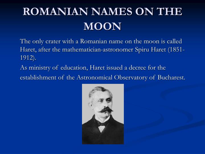 ROMANIAN NAMES ON THE MOON