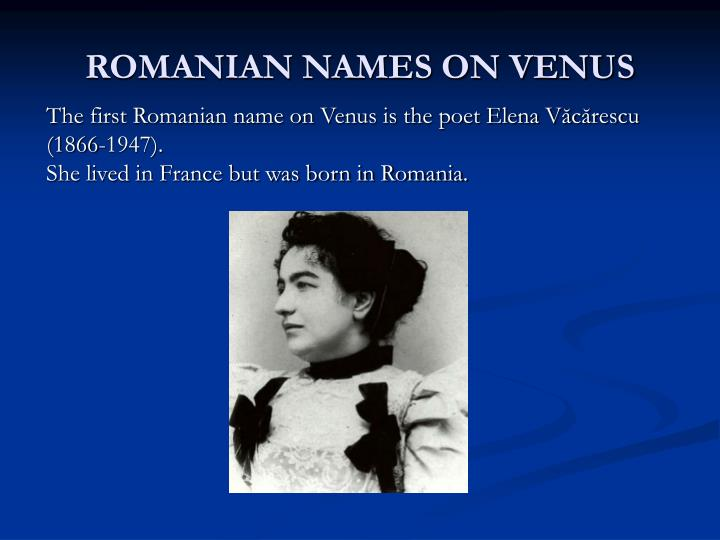ROMANIAN NAMES ON VENUS