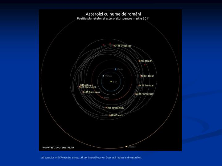 All asteroids with Romanian names. All are located between Mars and Jupiter in the main belt.