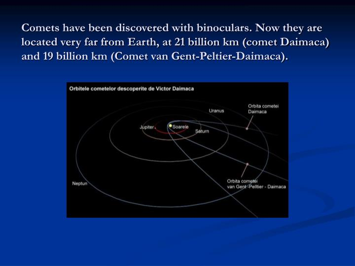 Comets have been discovered with binoculars. Now they are located very far from Earth, at 21 billion km (comet Daimaca) and 19 billion km (Comet van Gent-Peltier-Daimaca).