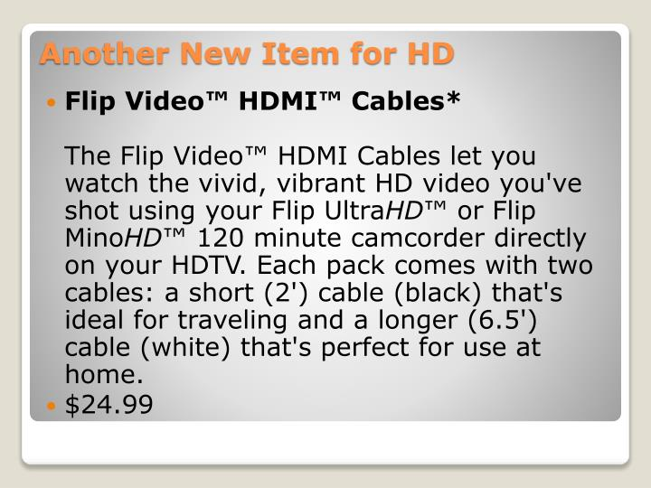 Flip Video™ HDMI™ Cables*