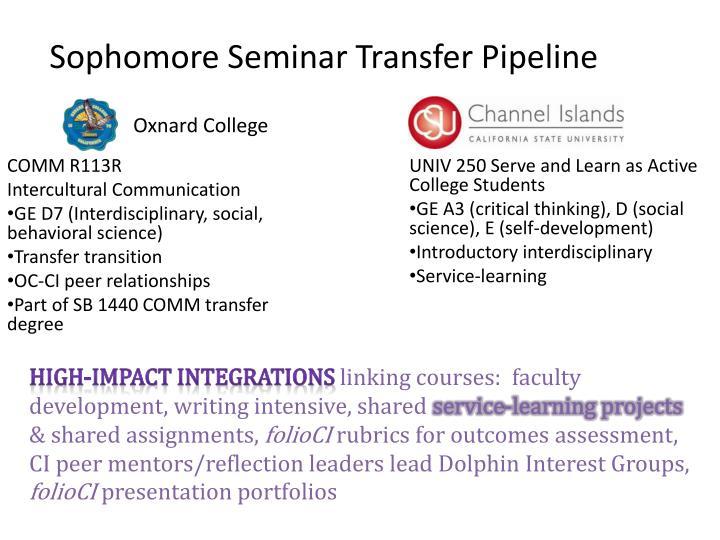 Sophomore Seminar Transfer Pipeline