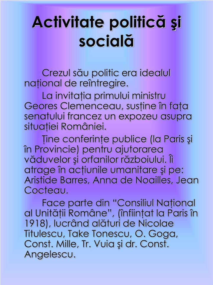 Activitate politică şi socială
