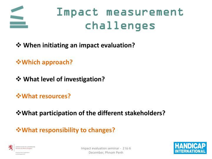 Impact measurement challenges