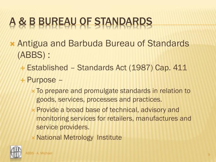 A & b bureau of standards