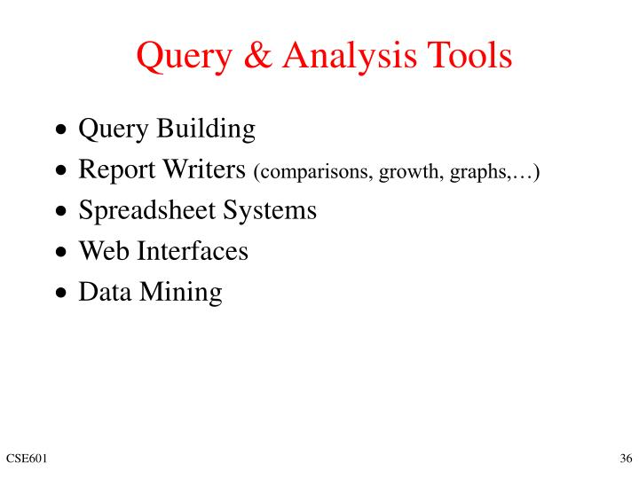 Query & Analysis Tools