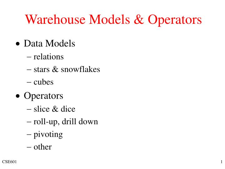 Warehouse models operators