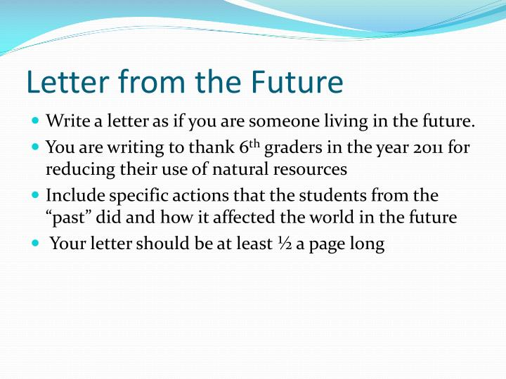 Letter from the Future