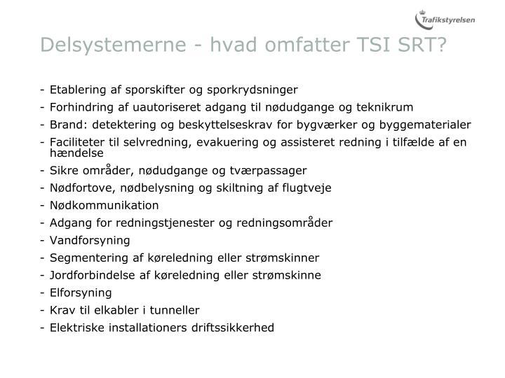 Delsystemerne - hvad omfatter TSI SRT?
