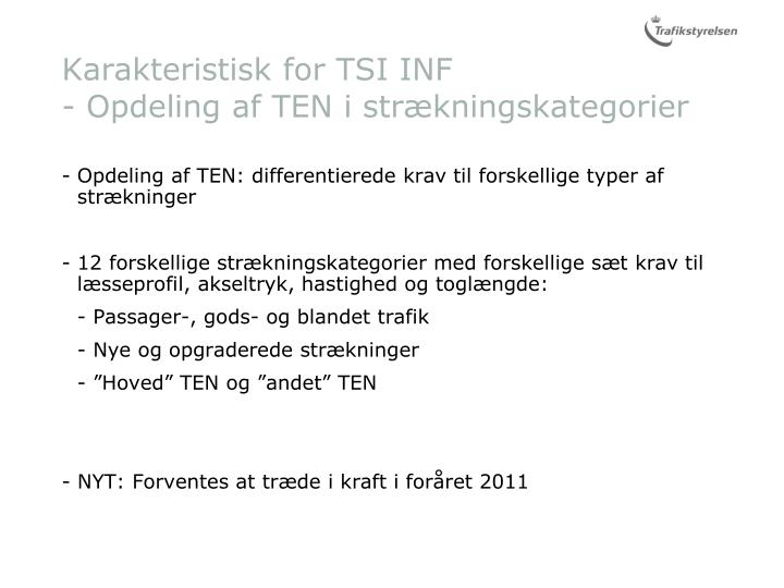 Karakteristisk for TSI INF