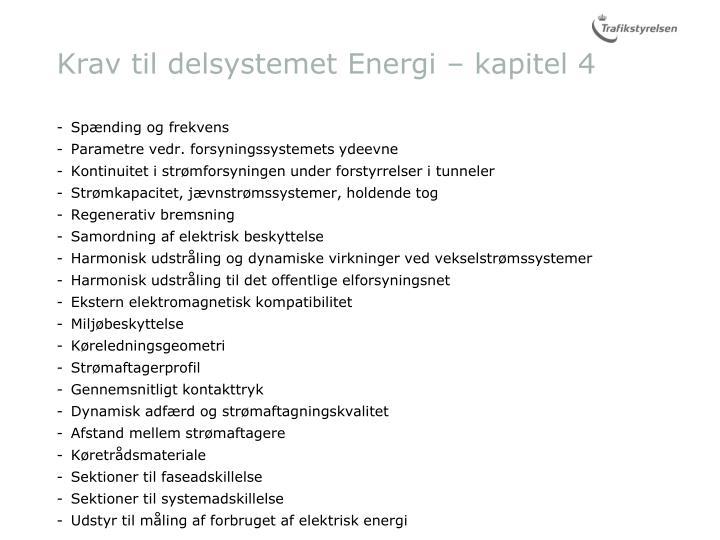 Krav til delsystemet Energi – kapitel 4