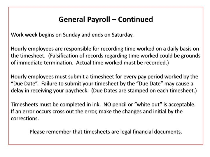 General Payroll – Continued