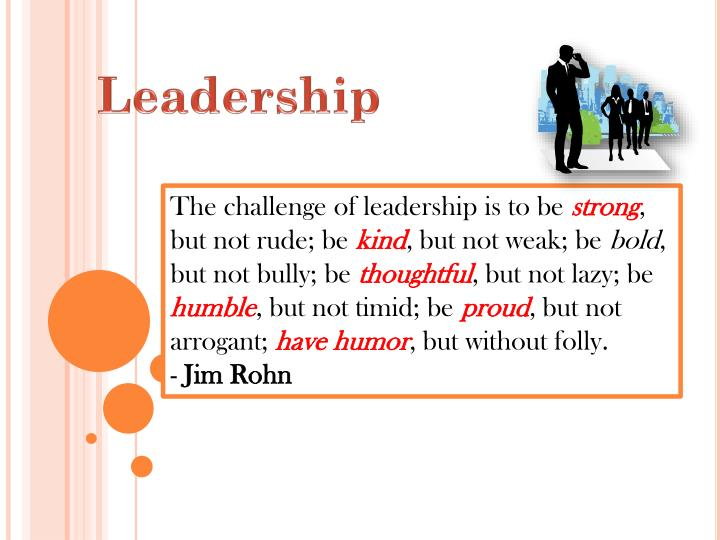 The challenge of leadership is to be