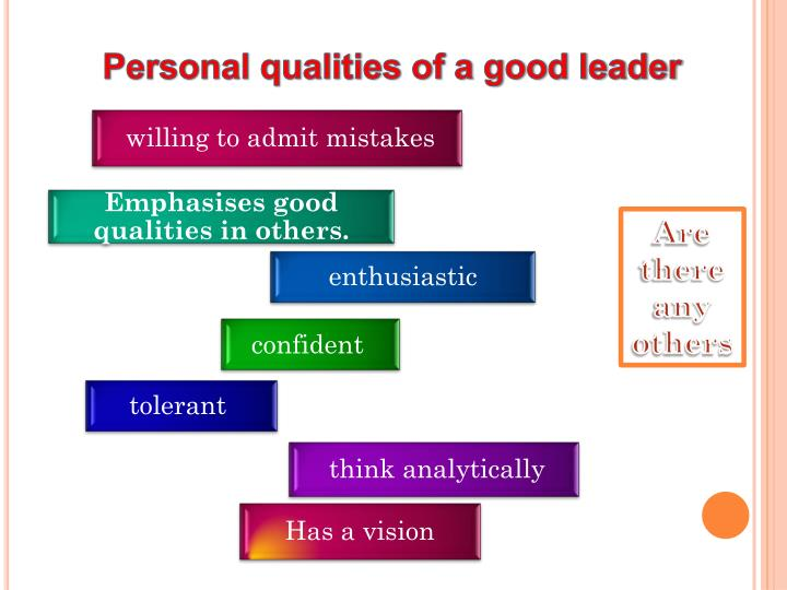 Personal qualities of a good leader