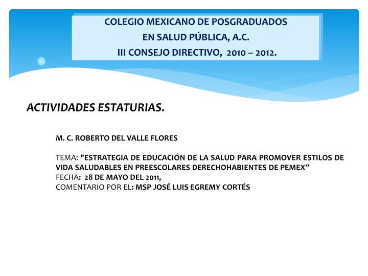 COLEGIO MEXICANO DE POSGRADUADOS