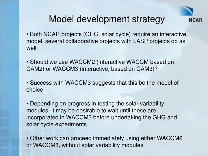Model development strategy