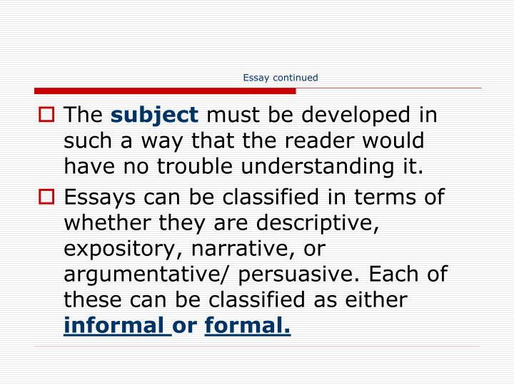 Essay continued
